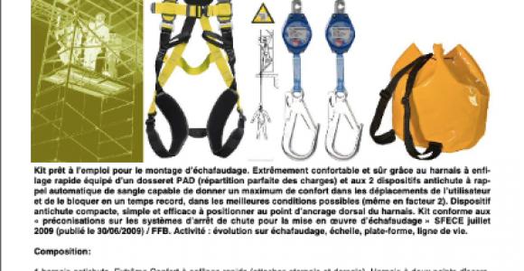 KIT ECHAF 8A - Activité : évolution sur échafaudage, échelle, plate-forme, ligne de vie